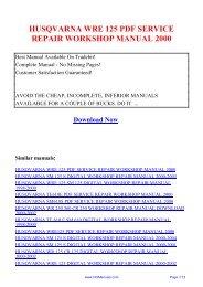 husqvarna wre 125 pdf service repair workshop ... - Repair manual