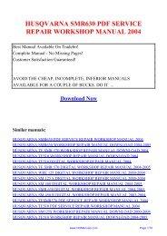 husqvarna smr630 pdf service repair workshop ... - Repair manual