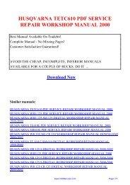 husqvarna tetc610 pdf service repair workshop ... - Repair manual