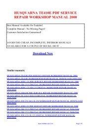 husqvarna te410e pdf service repair workshop ... - Repair manual