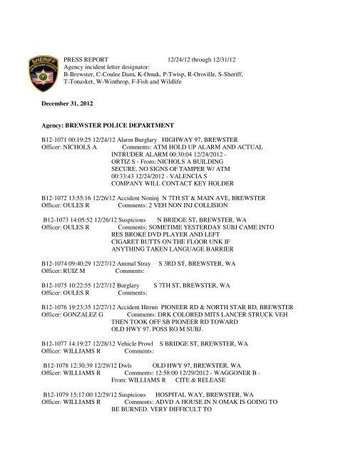 Sheriff / Police Log - Okanogan County Sheriff's Office