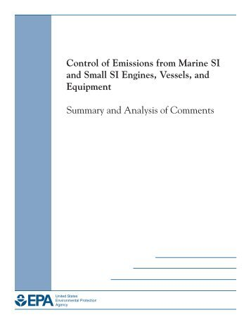 Control of Emissions from Marine SI and Small - US Environmental ...