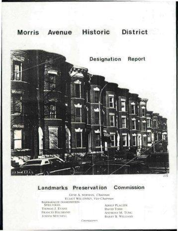 Morris Avenue Historic District, July 1986 - NYC.gov