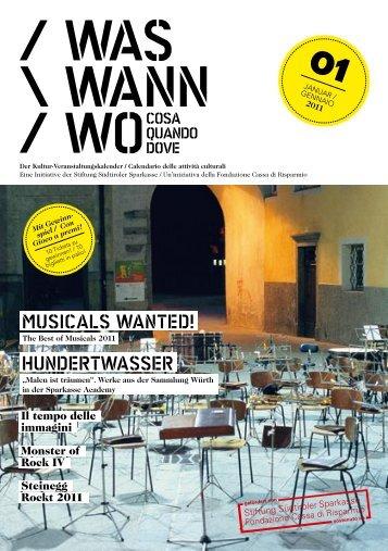 MUSICALS WANTED! HUNDErTWASSEr - Kultur bz it