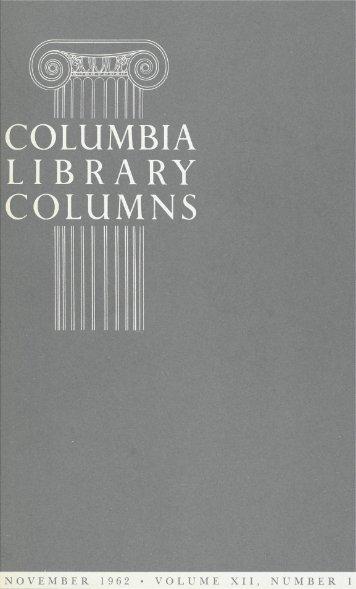 N O V E M B E R 1962 X I I , N U M B E R - Columbia University