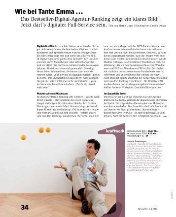 Bestseller-Digital-Agentur-Ranking 2011 - kraftWerk