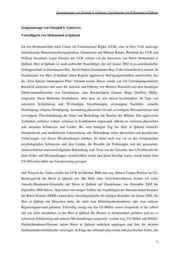 1 Zeugenaussage von Gitanjali S. Gutierrez, Verteidigerin von ... - RAV