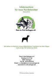 Infobroschüre für neue Hundebesitzer - Tiere in Not Solingen eV