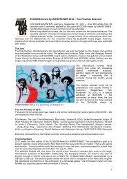 1 BLOOOM Award by WARSTEINER 2012 – Ten Finalists Selected
