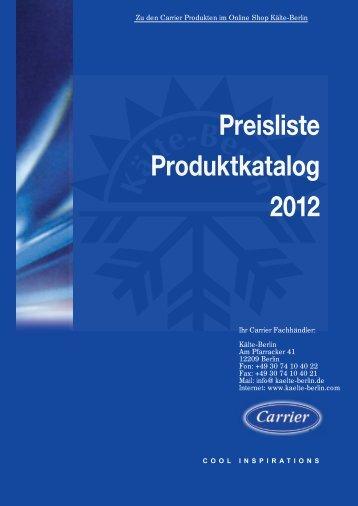 Carrier Kühlmöbel Preisliste 2012