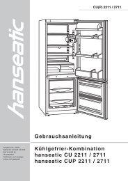 Gebrauchsanleitung Kühlgefrier-Kombination hanseatic ... - Schwab