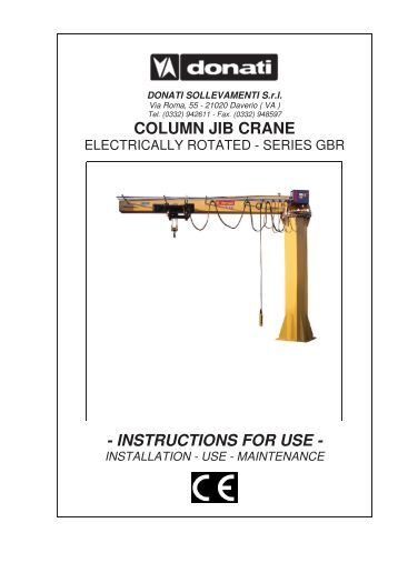 Jib Crane Usage : Installation and using instruction for bgw lifting
