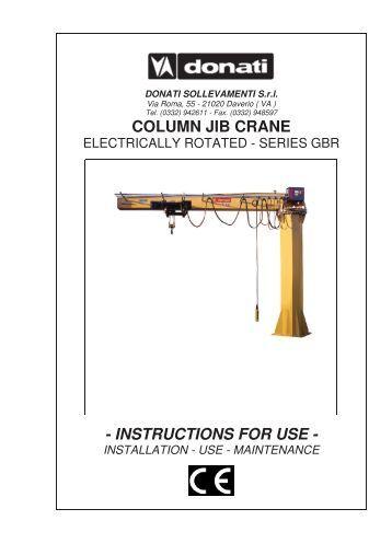 Jib Crane Usage : Installation and using instruction for bgw lifting