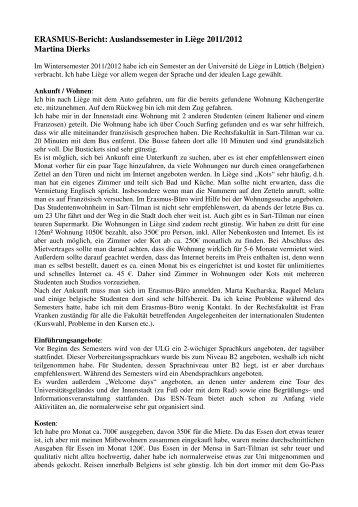 ERASMUS-Bericht: Auslandssemester in Liège 2011/2012 Martina ...