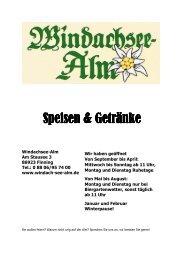 Speisen & Getränke Speisen & Getränke - Windachsee-Alm