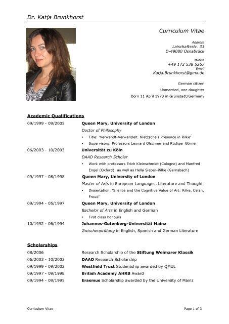 Dr Katja Brunkhorst Curriculum Vitae Theword