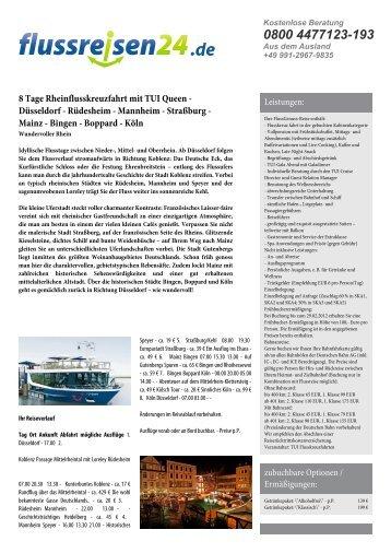 8 Tage Rheinflusskreuzfahrt mit TUI Queen ... - Flussreisen 24