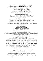 Sieveringer - Kleiderbörse 2012 - Kulturserver NRW