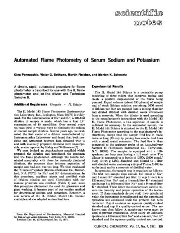 Automated Flame Photometry of Serum Sodium ... - Clinical Chemistry