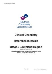 Clinical Chemistry Reference Intervals Otago / Southland Region
