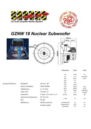 GZNW 18 Nuclear Subwoofer