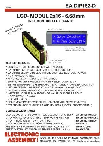 EA DIP162-D LCD- MODUL 2x16 - 6,68 mm