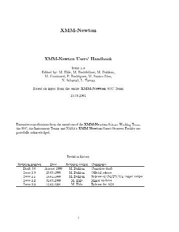 XMM-Newton XMM-Newton Users' Handbook Issue 2.0 Edited by: M ...