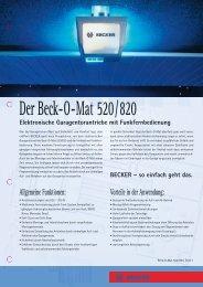 Bestelldaten Beck-O-Mat 520/820 - Becker-Antriebe International