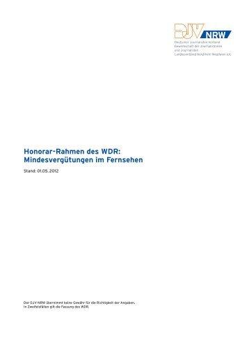 Honorar-Rahmen des WDR: Mindesvergütungen im Fernsehen