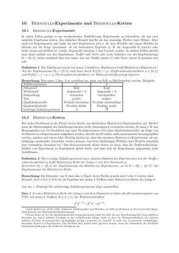 10 Bernoulli-Experimente und Bernoulli-Ketten