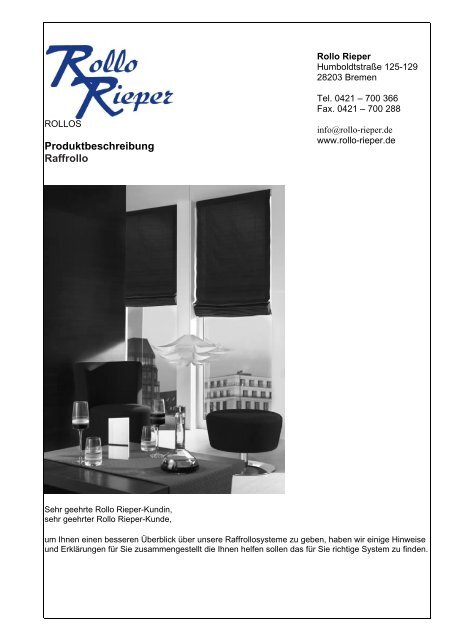 Produktbeschreibung Raffrollo - Rollo Rieper