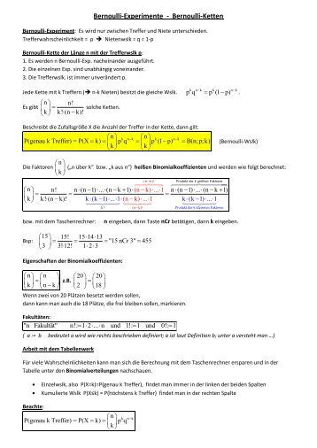 Bernoulli-Experimente - Bernoulli-Ketten
