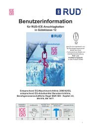 Benutzerinformation für RUD-ICE-Anschlagketten in Güteklasse 12
