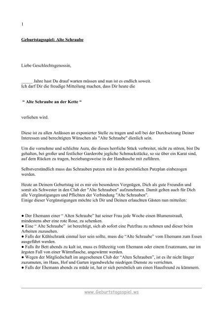 1 Geburtstagsspiel Alte Schraube Liebe Geschlechtsgenossin