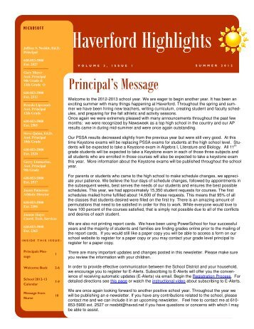 2011-2012 School Year News - Haverford Township School District