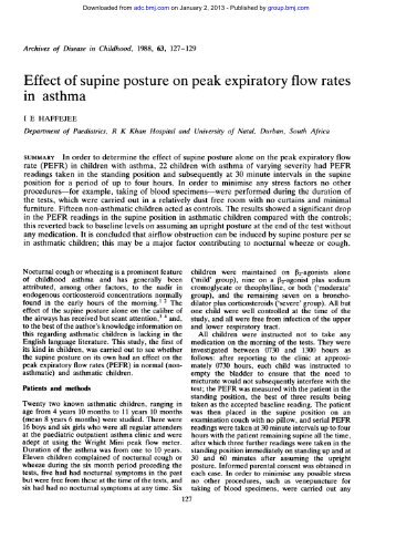 Effect of supine posture on peak expiratory flow rates in asthma