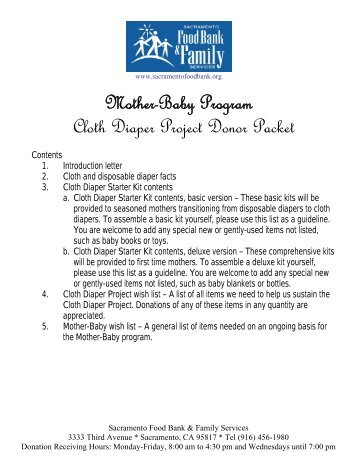 Mother-Baby Program Cloth Diaper Project Donor Packet