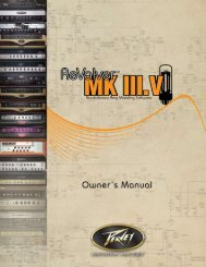 Table of Contents Section Page - Peavey