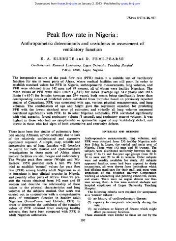 Peak flow rate in Nigeria: - Thorax