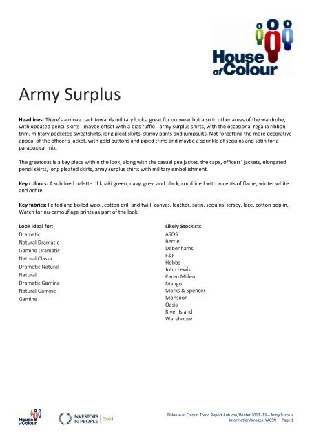 Army Surplus - House of Colour