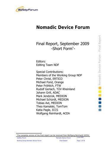 Nomadic Device Forum – Final Report