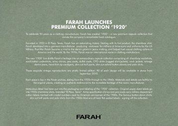 FARAH LAUNCHES PREMIUM COLLECTION '1920L