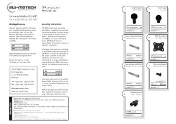 Universal-Halter Kit M8* Universal-Mount Kit M8* CPA.00.424.102 ...