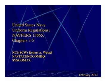United States Navy Uniform Regulations; NAVPERS 15665 ...