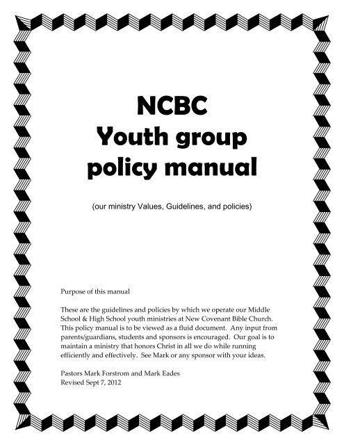 NCBC Youth group policy manual - New Covenant Bible Church