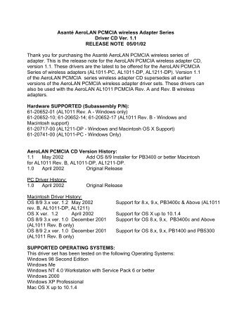 Drivers Update: Asante AL1011 Rev.B
