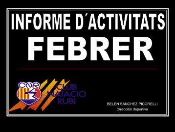 Calendari competicions de Març - Club Natació Rubí