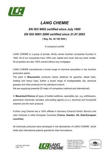 Download Companyprofil (PDF) - Lang Chemie