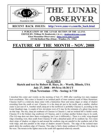 FEATURE OF THE MONTH – NOV. 2008 - ALPO Lunar Program