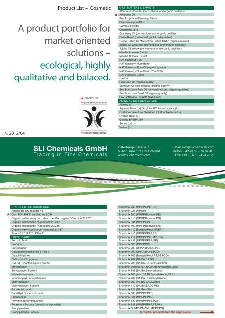 a product portfolio for market - SLI Chemicals GmbH